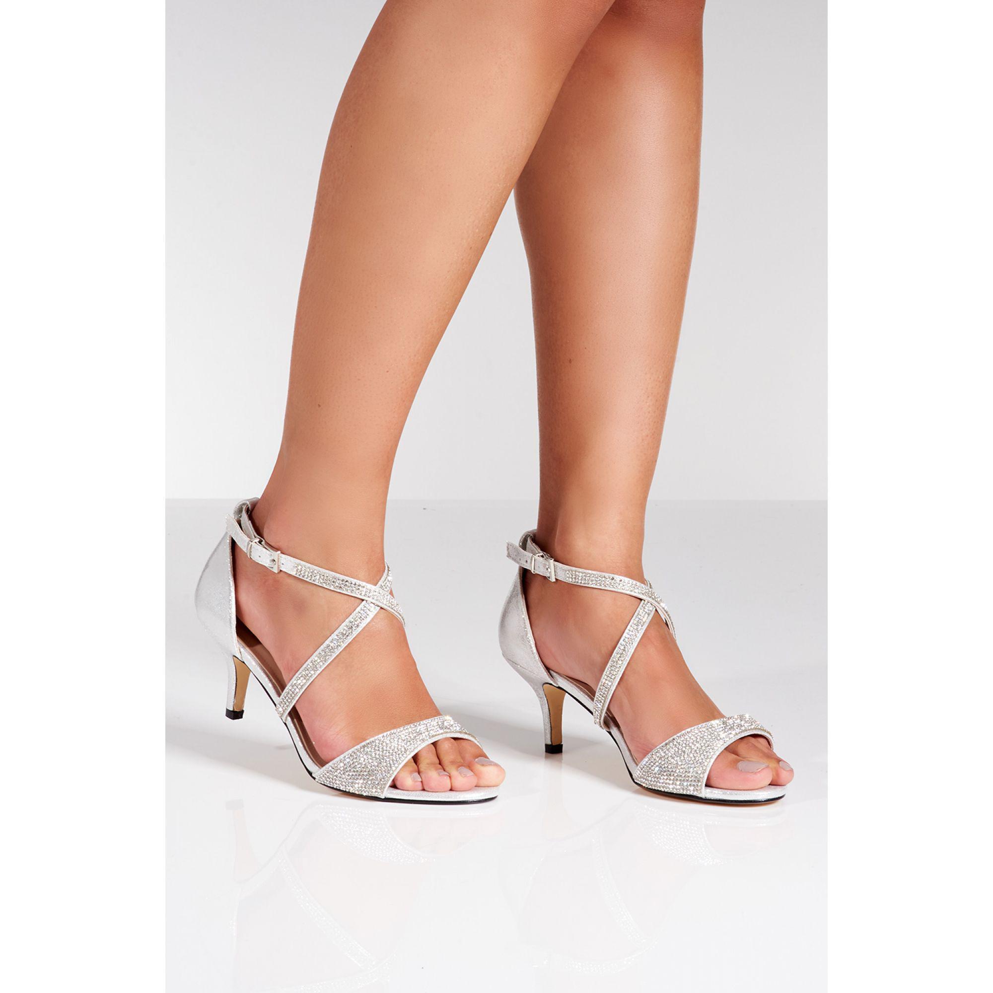 bd6153c1f2b Quiz Silver Shimmer Diamante Low Heel Sandals in Metallic - Lyst