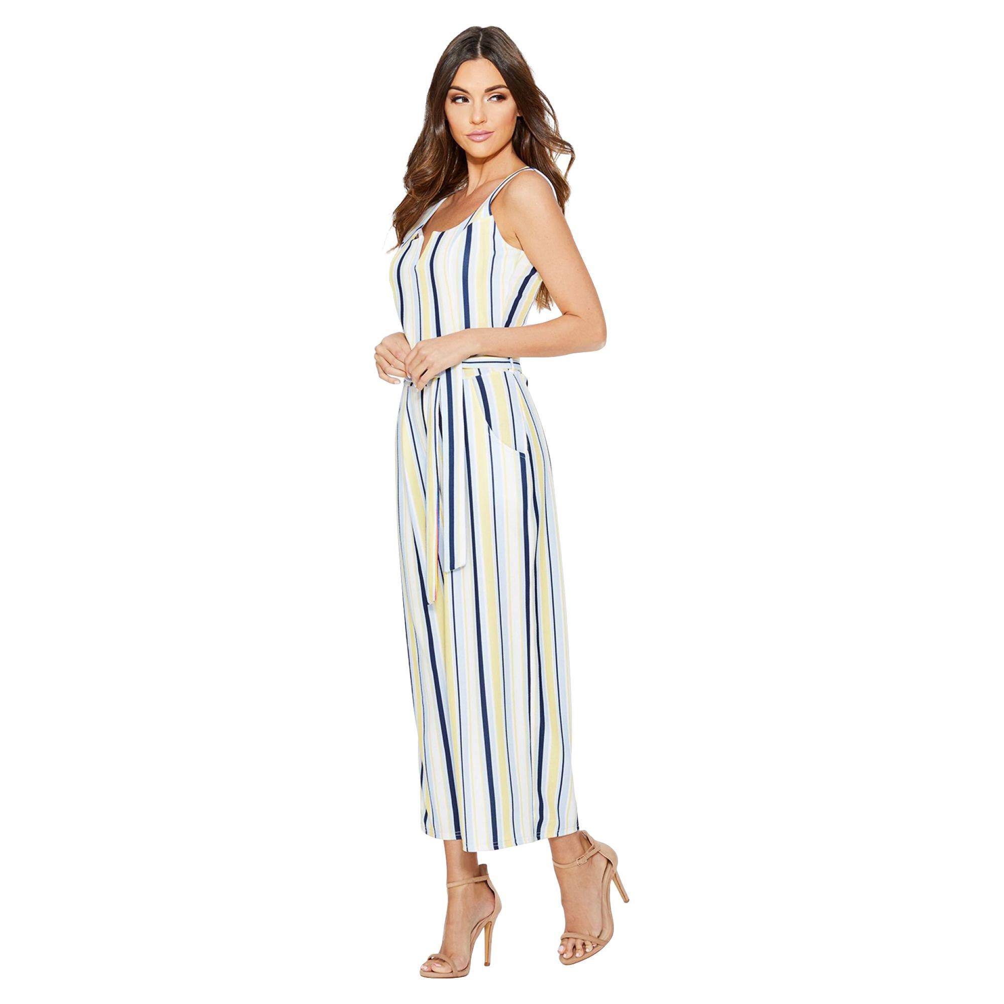 d43931f222 Quiz Cream Lemon And Blue Stripe Culotte Jumpsuit in Blue - Lyst