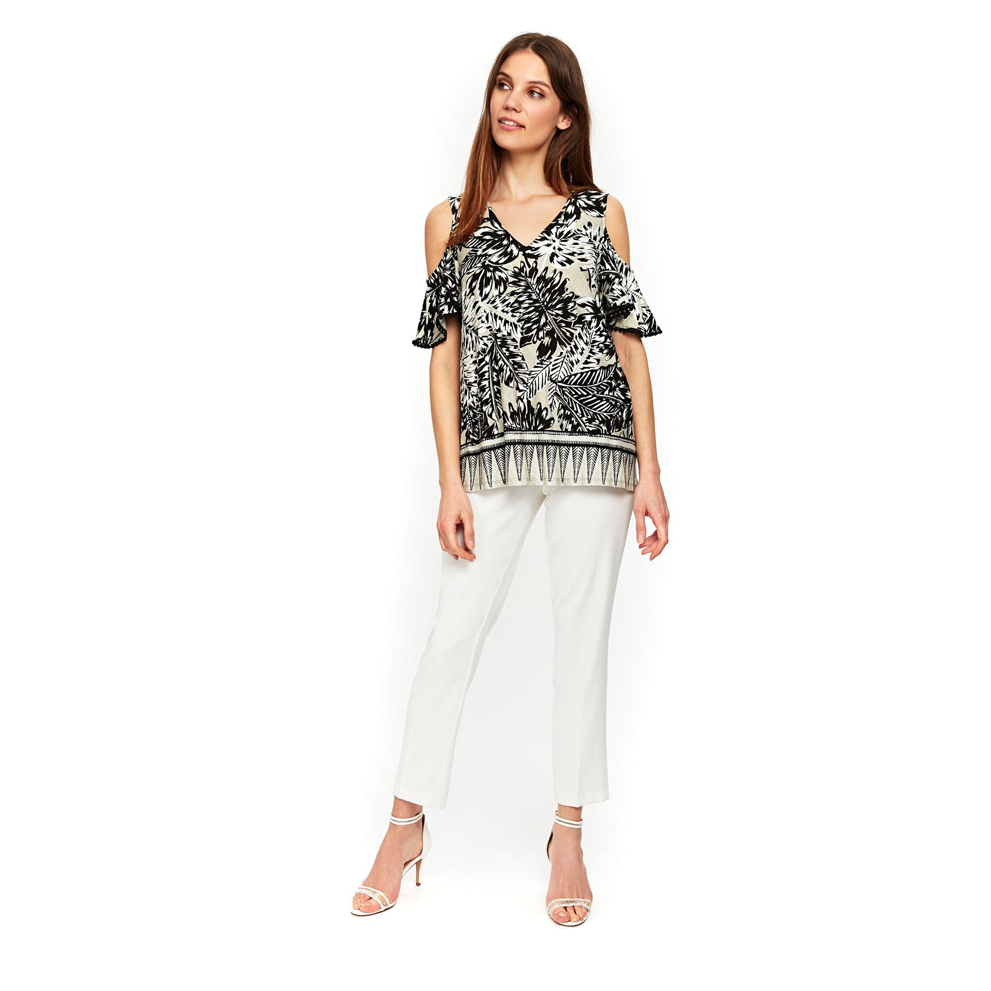 dc8f1d9fa2301 Wallis Neutral Palm Border Cold Shoulder Top - Lyst