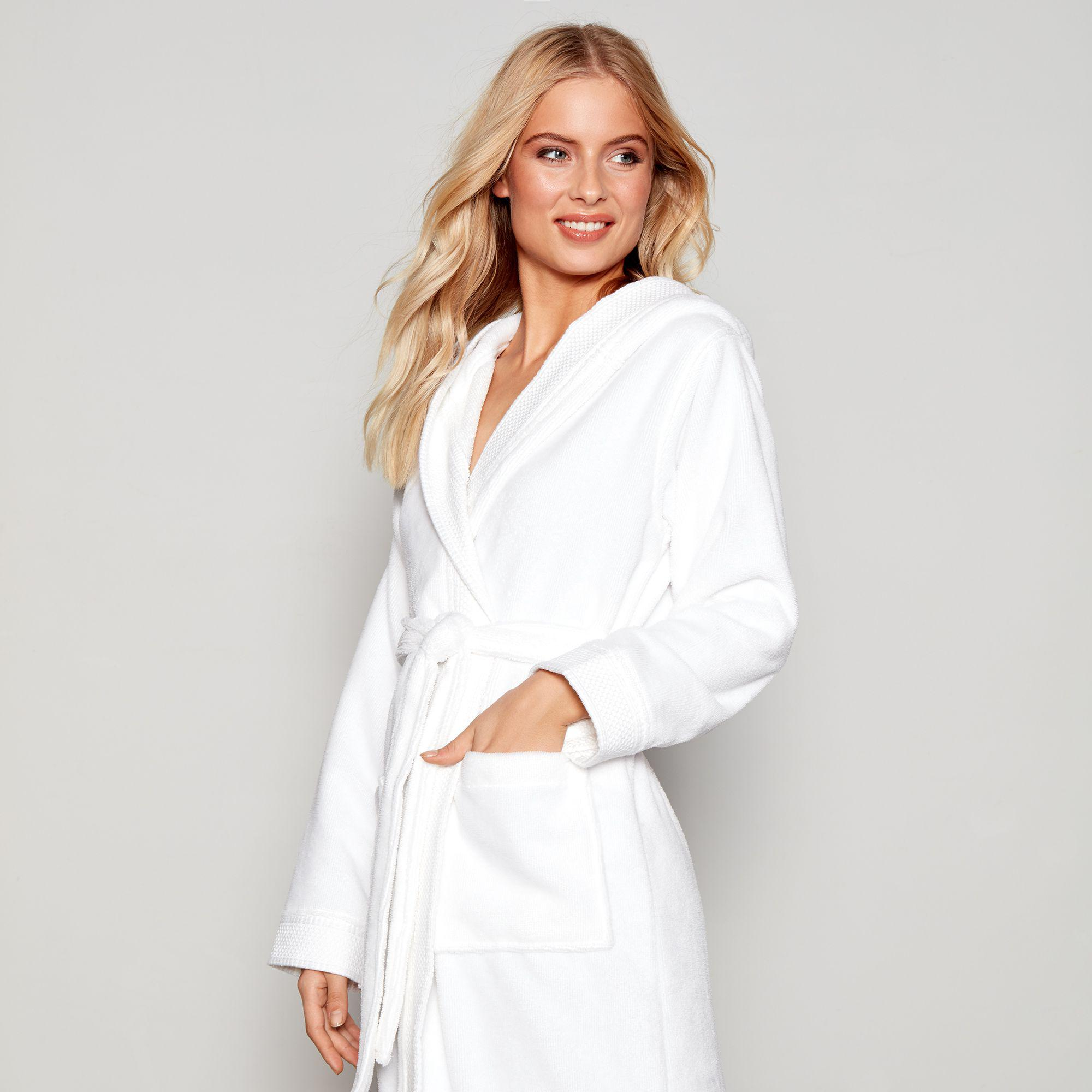 J By Jasper Conran White Towelling Hooded Dressing Gown in White - Lyst 4d70a71e2