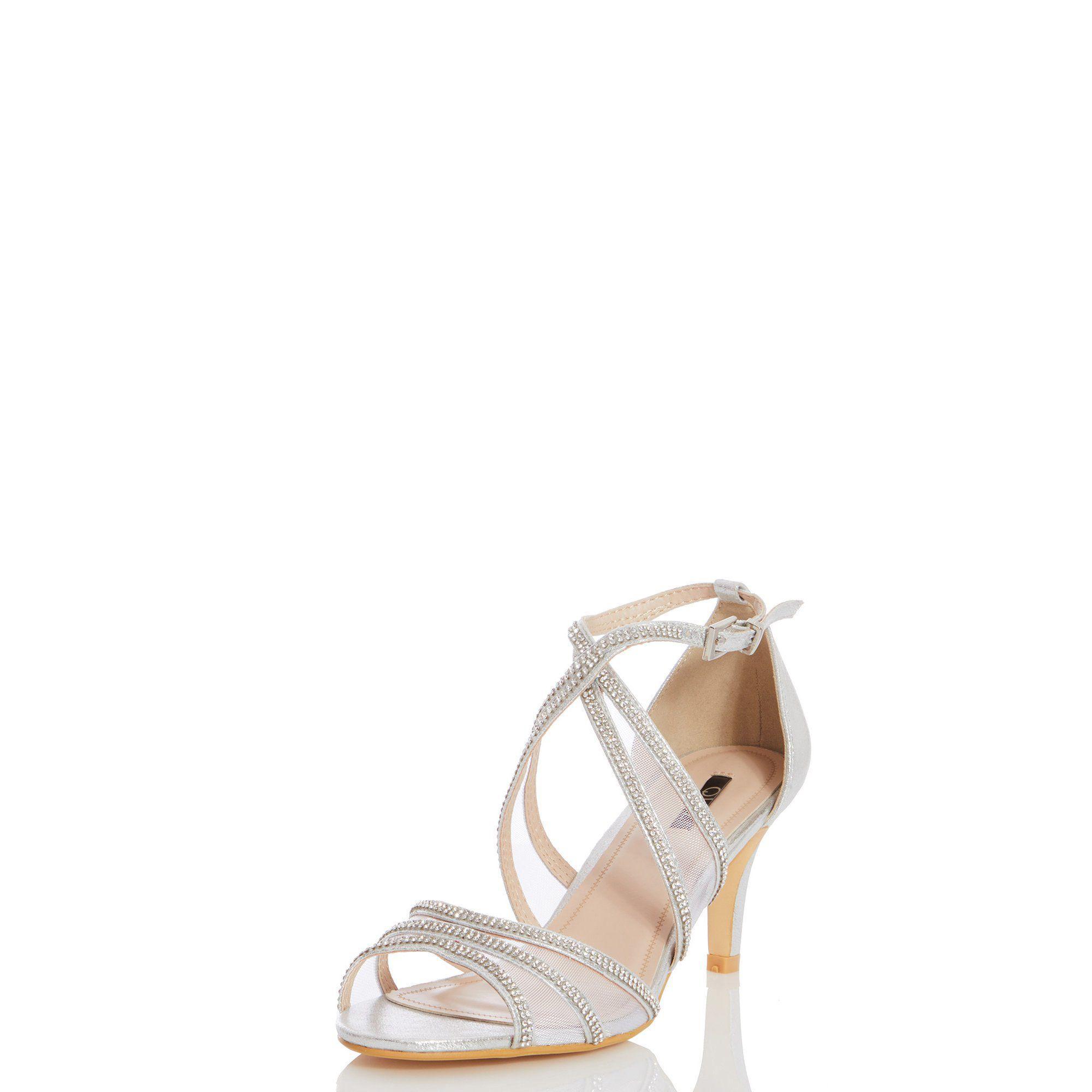 ffbf09989379 Quiz - Metallic Silver Shimmer Diamante Low Heel Sandals - Lyst. View  fullscreen