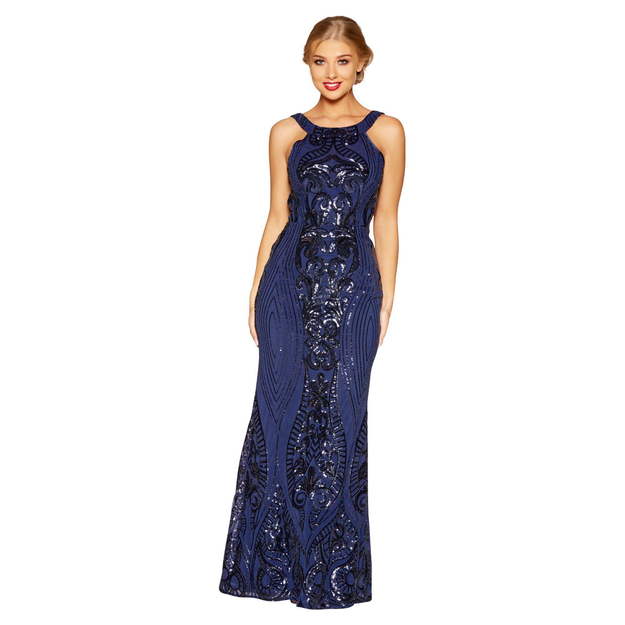 5204b81fe9cd Quiz Navy Sequin Fishtail Maxi Dress in Blue - Lyst