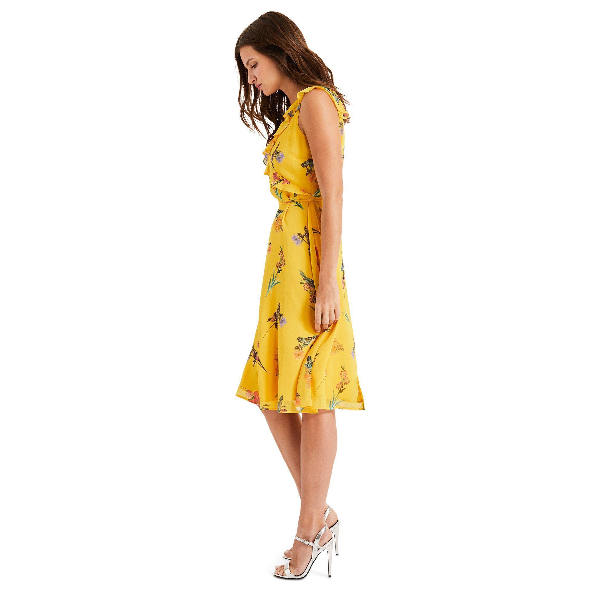 4d266fc97a9 Phase Eight - Yellow Joss Floral Printed Chiffon Dress - Lyst. View  fullscreen
