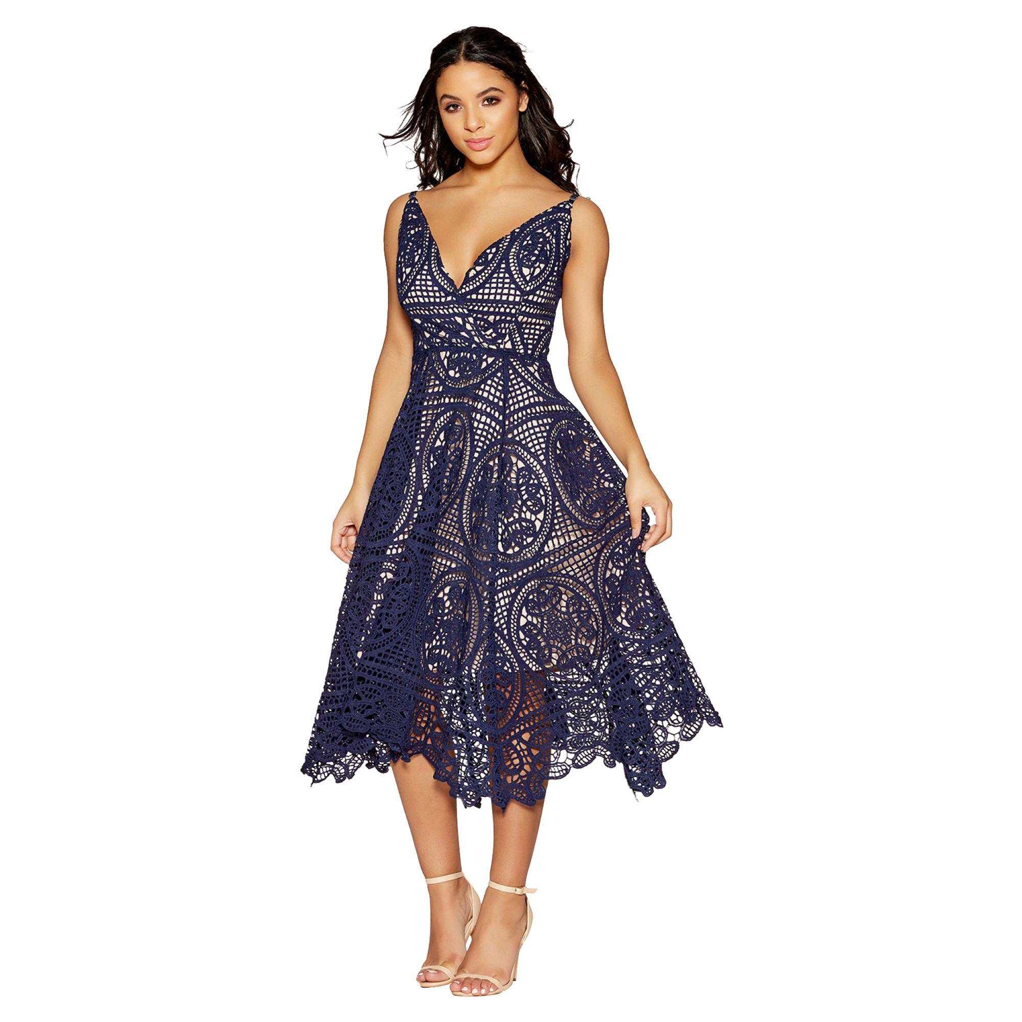 4bb5c815534f Quiz Navy And Nude Crochet V-neck Dip Side Dress in Blue - Lyst