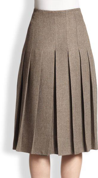 akris pleated tweed skirt in gray cordoba gray lyst