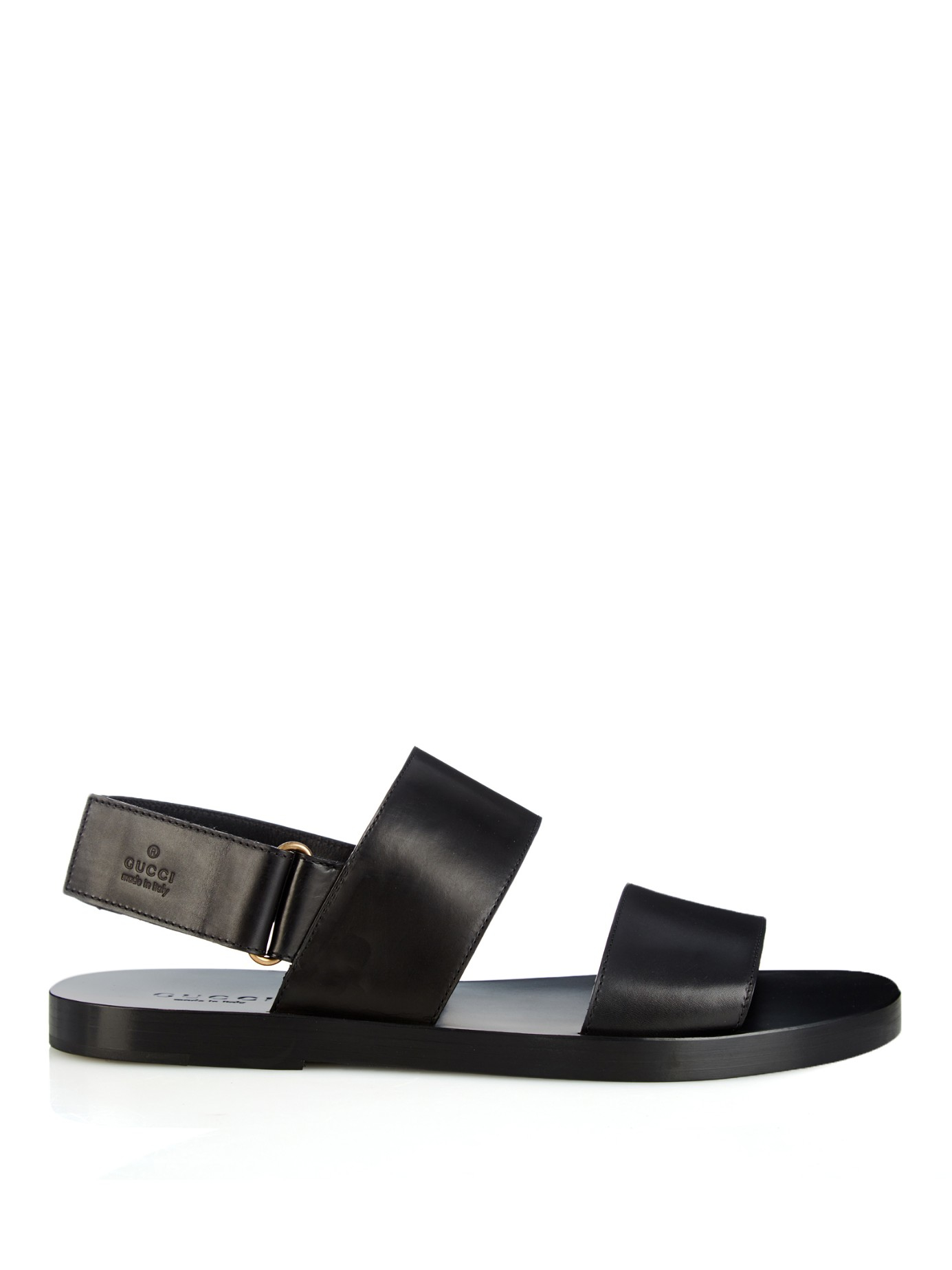 2df174647bef Lyst - Gucci Double-Strap Leather Sandals in Black for Men