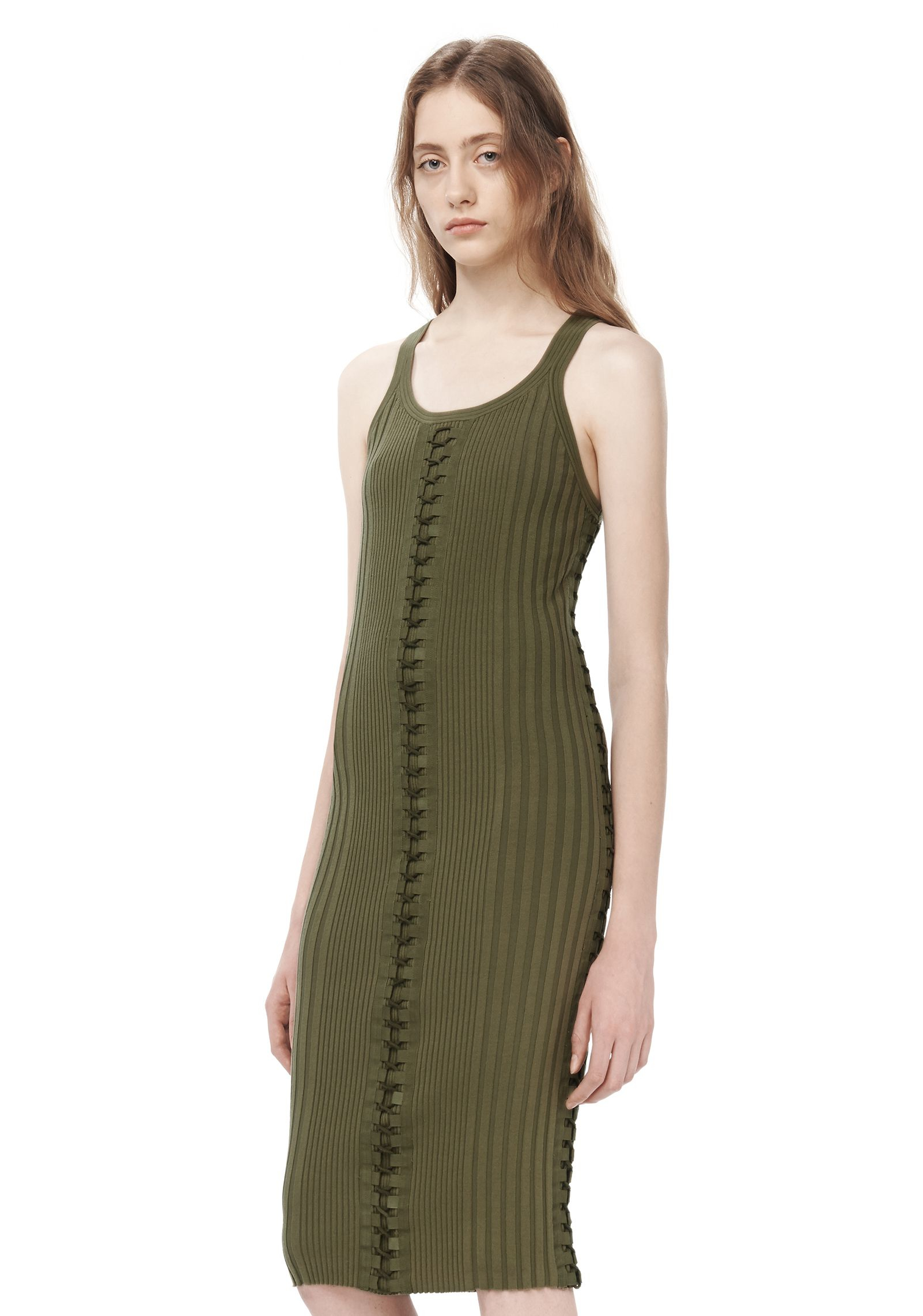 Lyst Alexander Wang Rib Cotton Tank Dress In Green