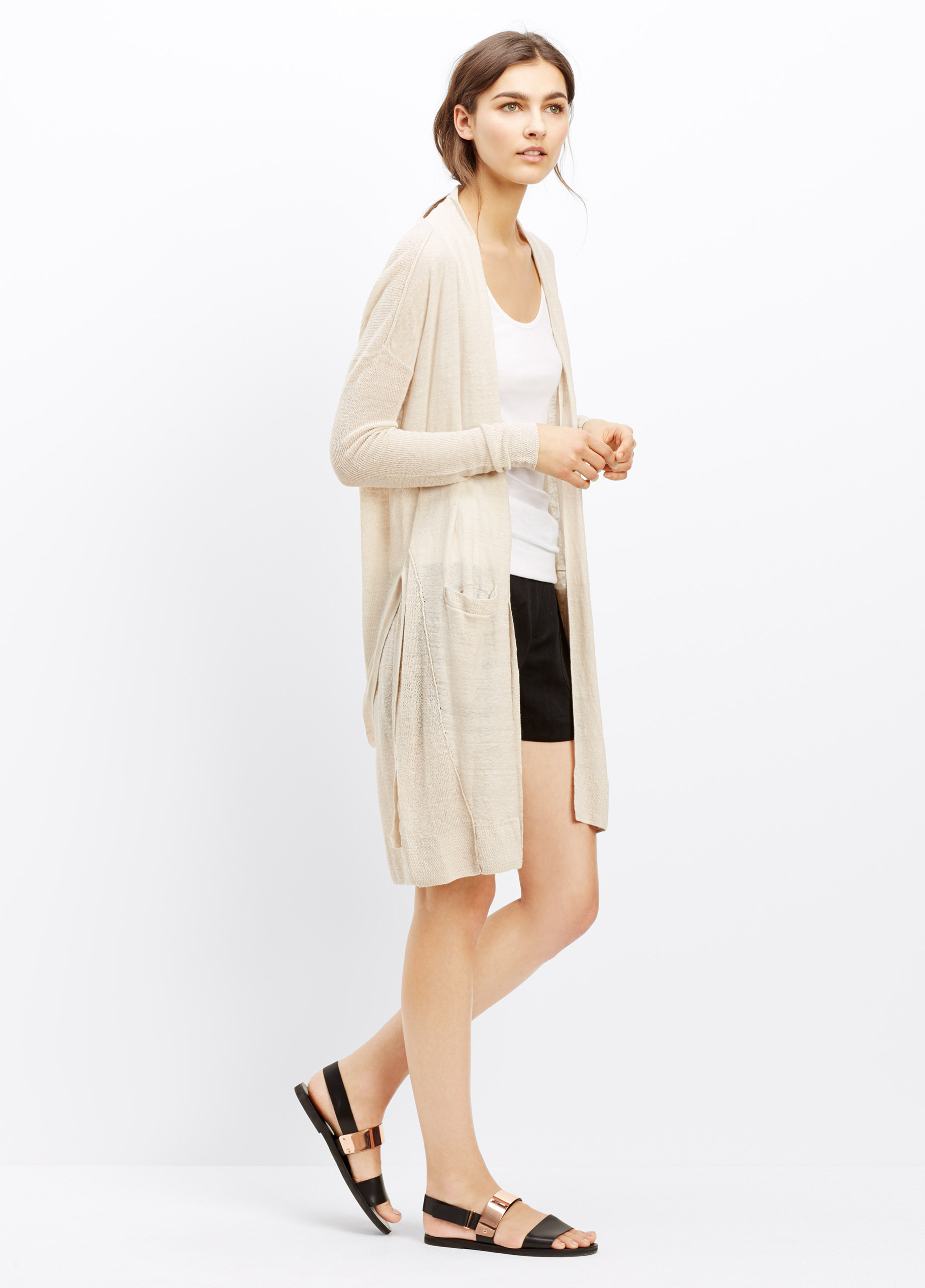 Vince Long Linen Blend Belted Cardigan in Natural | Lyst