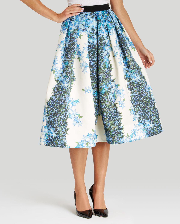 c92d016266 Tibi Skirt - Sidewalk Floral Full Midi in Blue - Lyst
