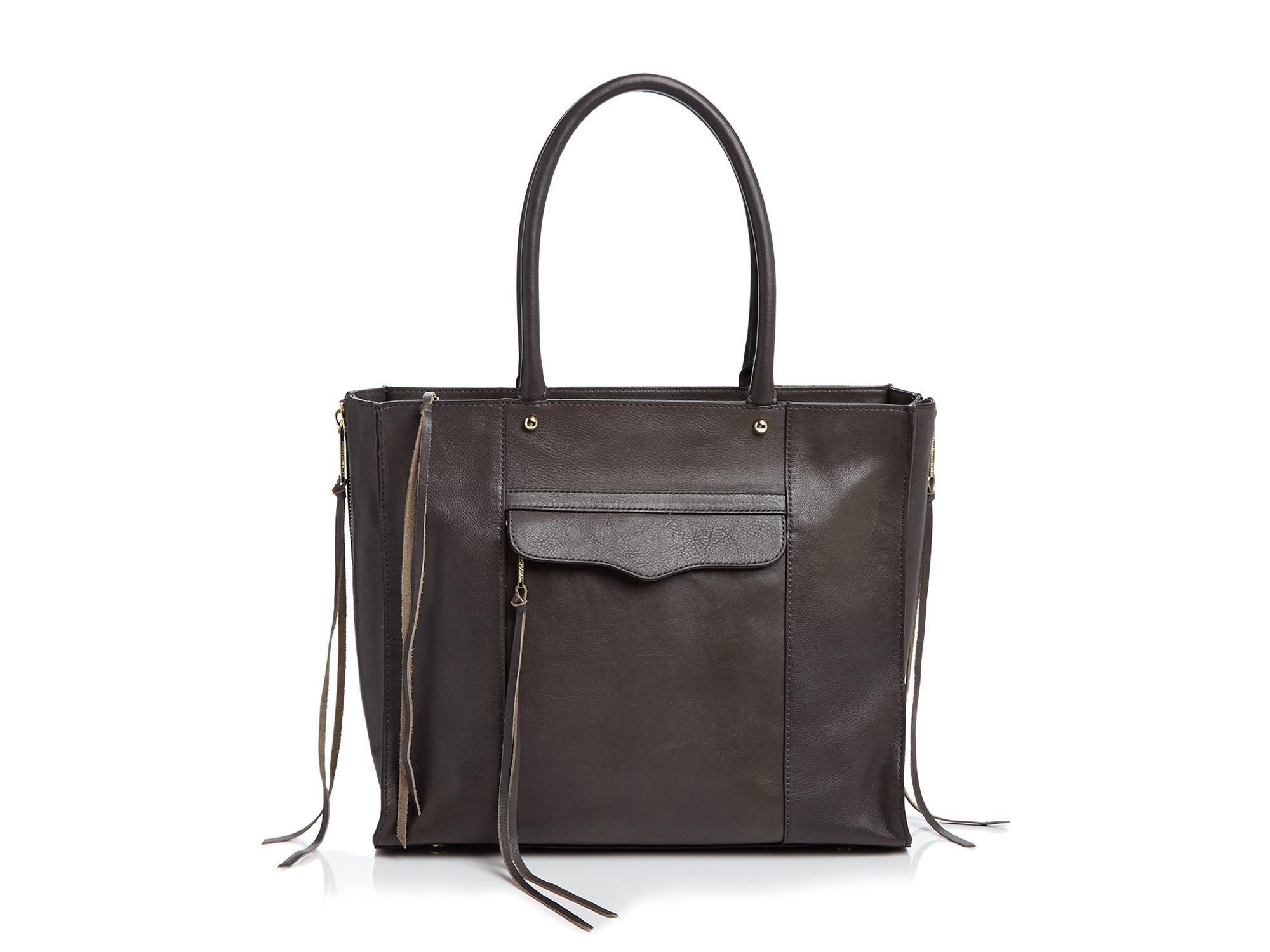 Rebecca Minkoff Leather Side Zip Medium Mab Tote In Gray