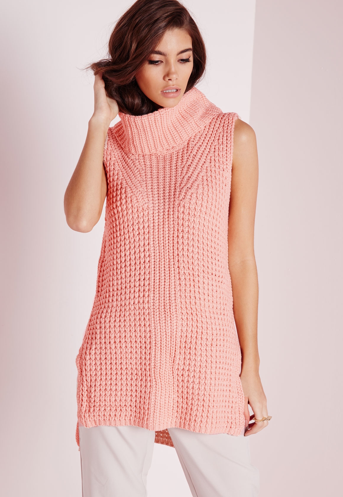 Lyst - Missguided Sleeveless Chunky Roll Neck Jumper Pink in Pink b6021ee30