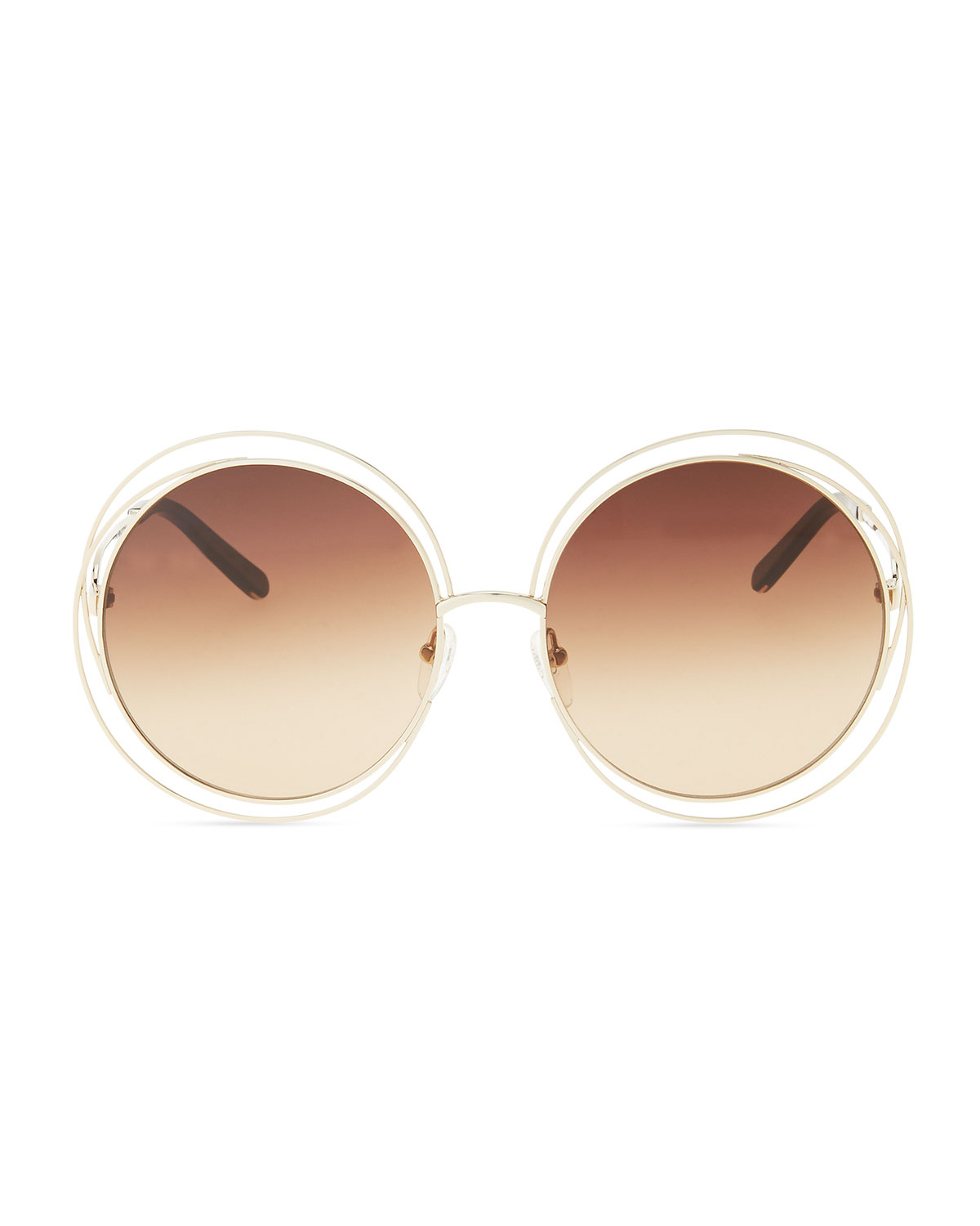 Lyst - Chloé Carlina Round Wire-frame Sunglasses in Pink