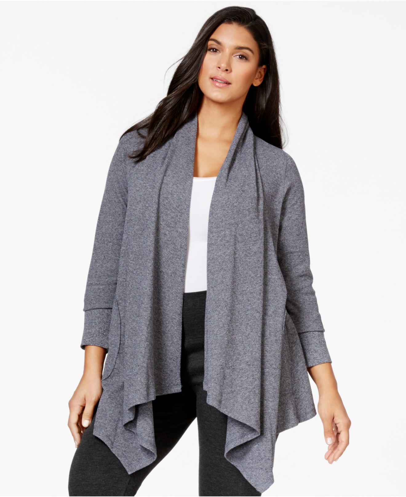 Calvin klein Performance Plus Size Open-front Waterfall Cardigan ...