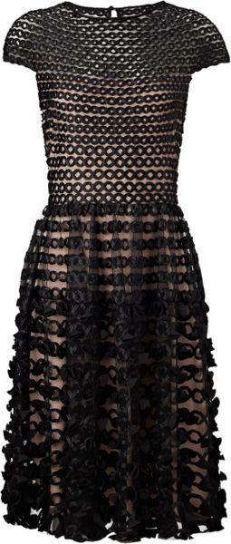 Temperley London Black Textured Trellis Dress In Black Lyst