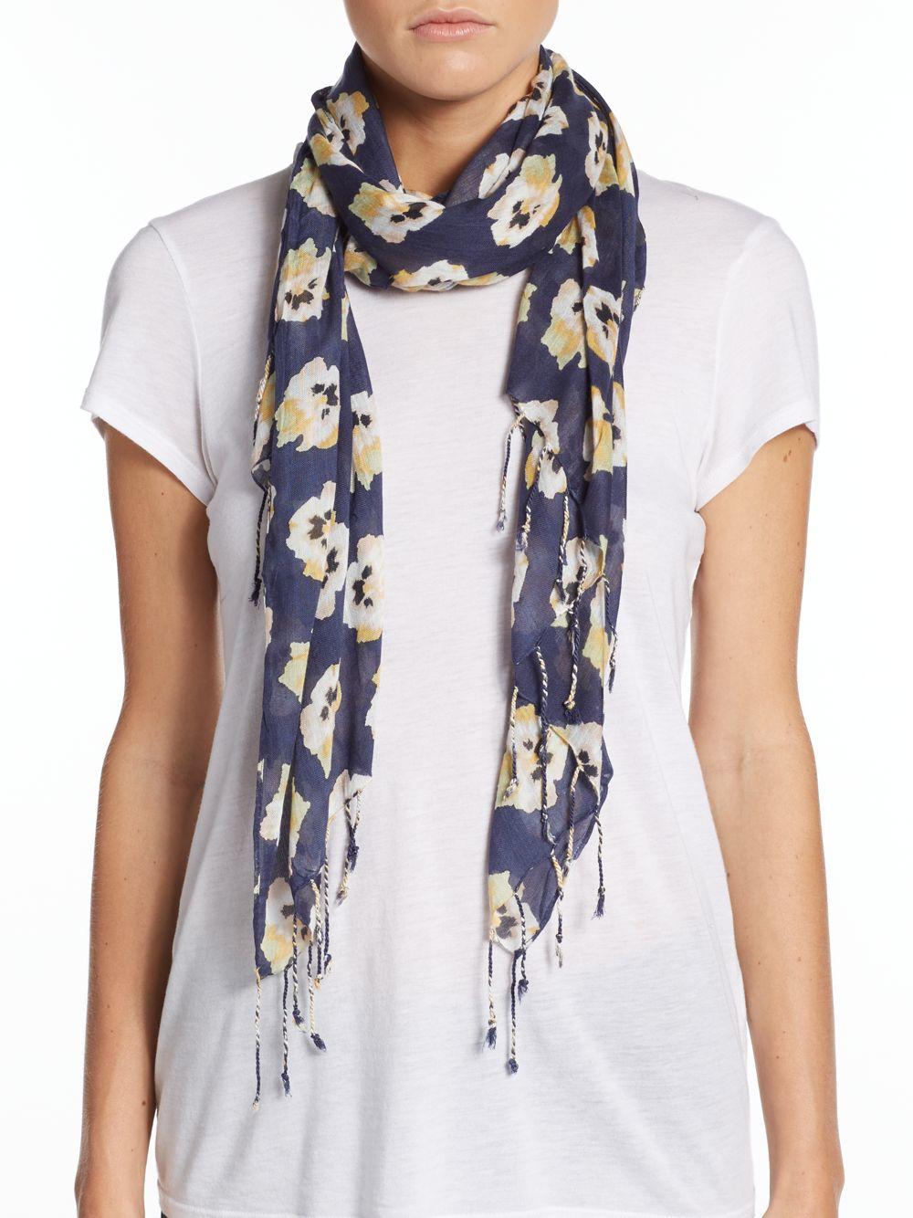 saks fifth avenue poppy floral print scarf in blue lyst