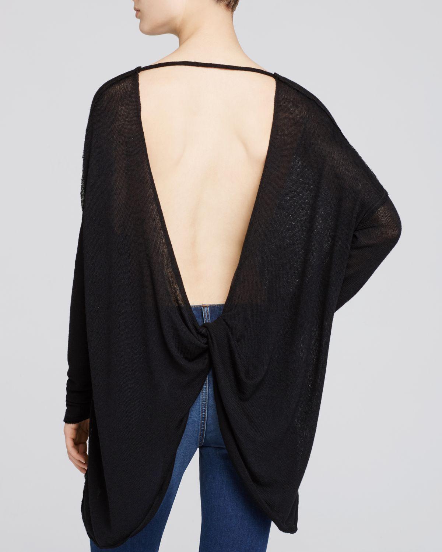 lyst free people shadow hacci open back sweater in black