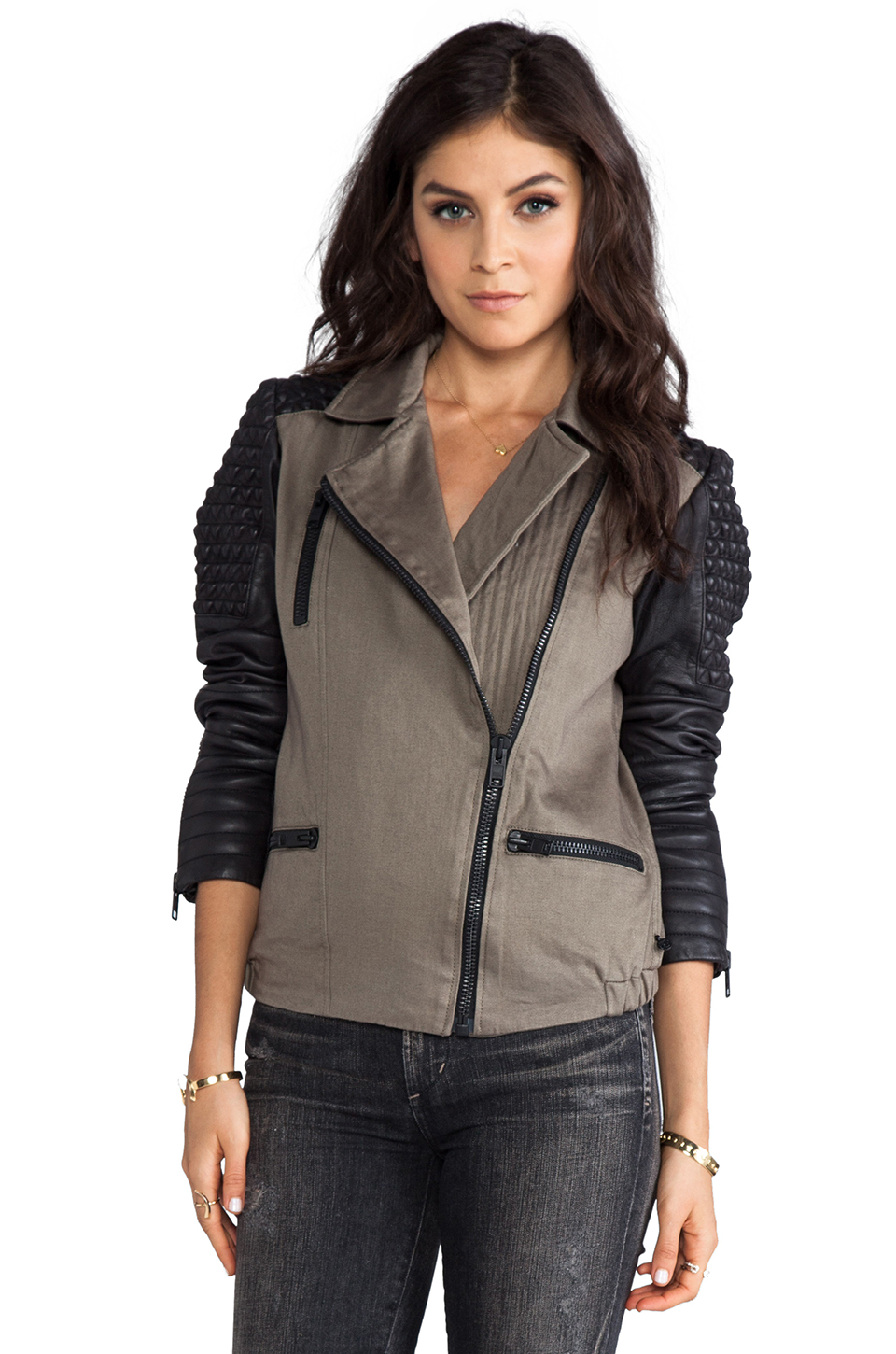 Military jacket with leather sleeves