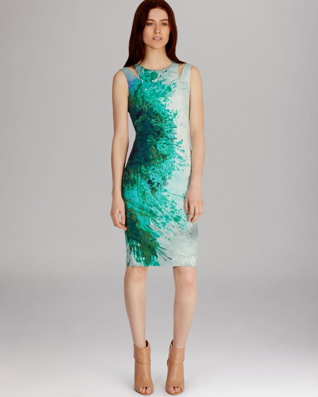 Karen Millen Dress Beautiful Paint Splash Print In Green