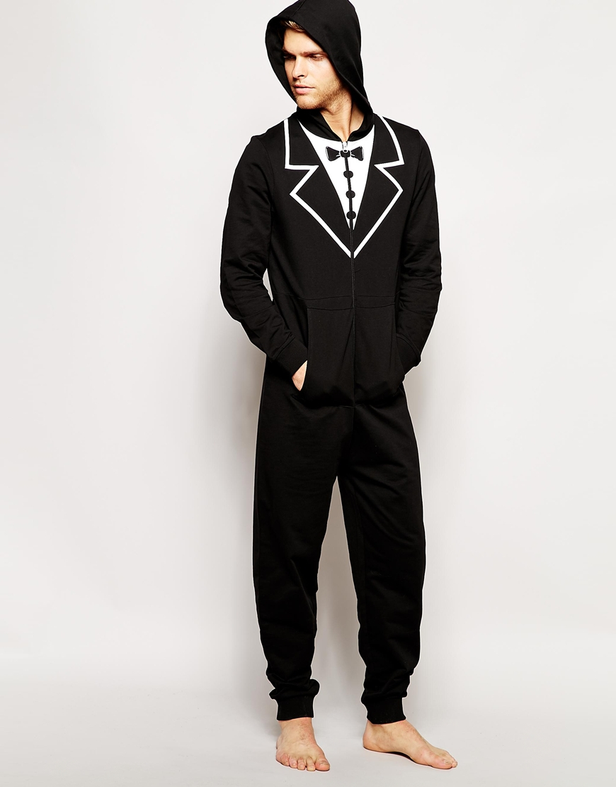 Asos Onesie With Tuxedo Print In Black For Men Lyst