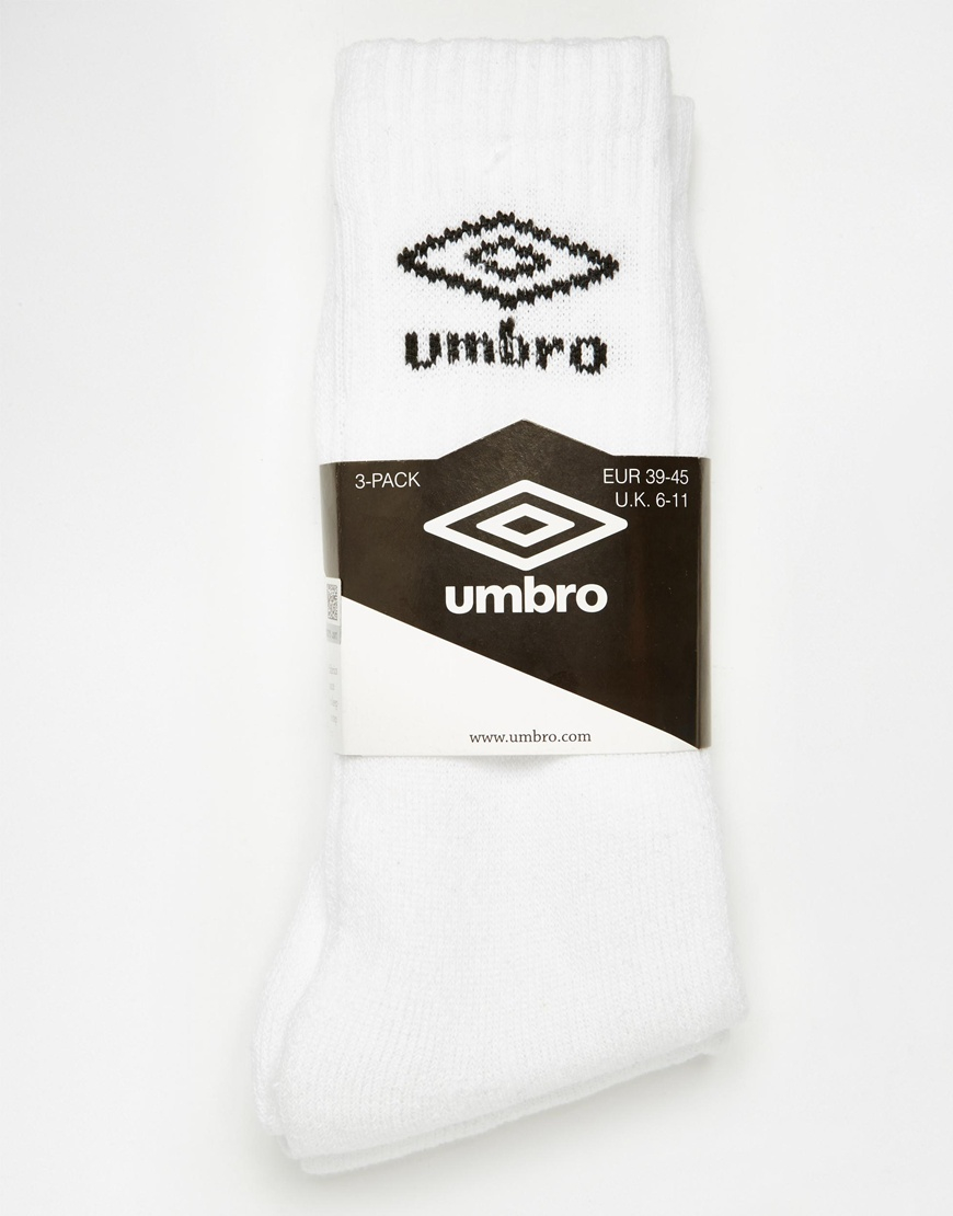 496450f5617f Lyst - Umbro 3 Pack Crew Sock in White for Men