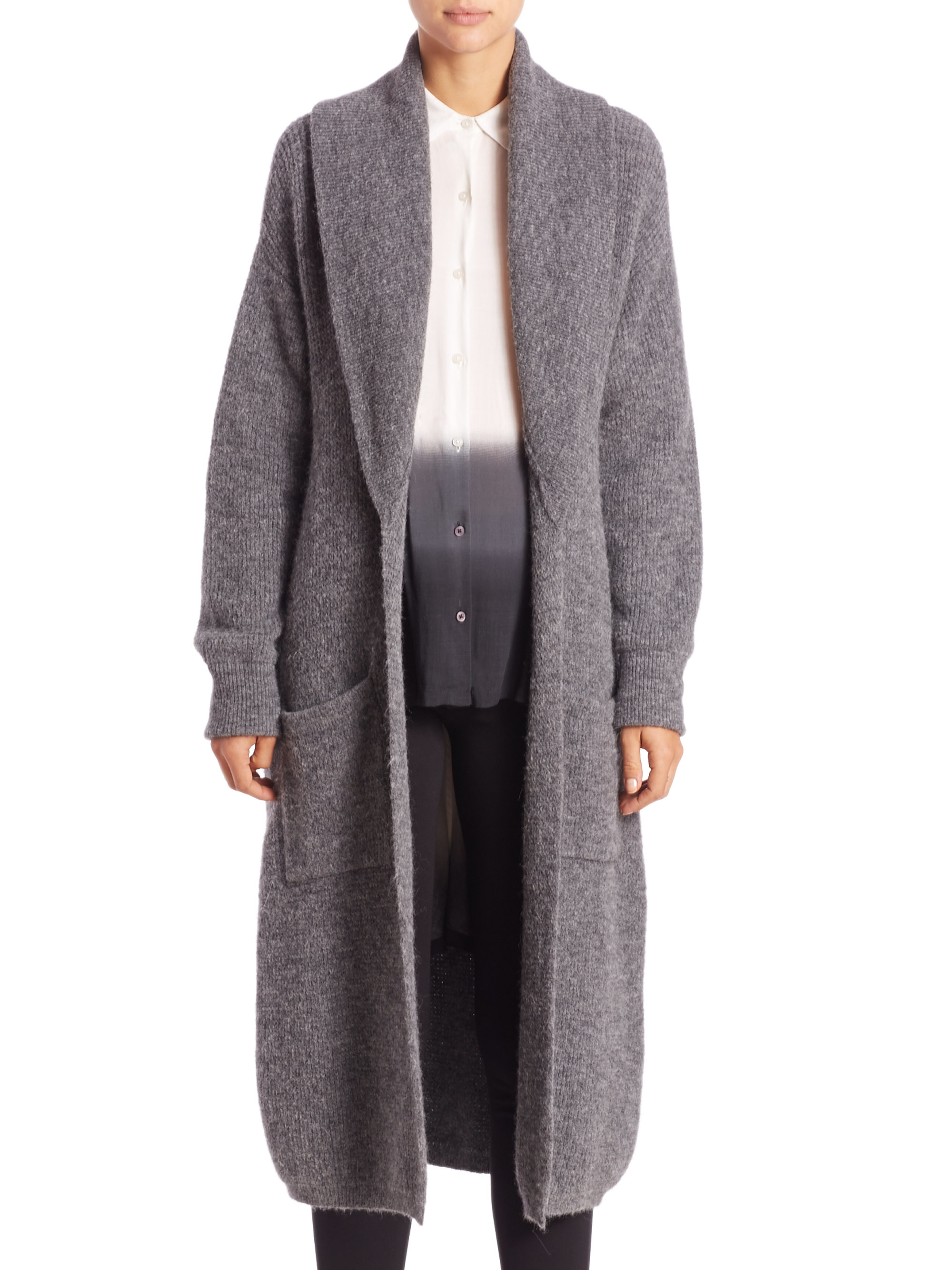 Dkny Long Open-front Cardigan in Gray | Lyst