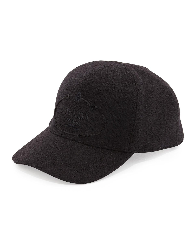 prada wool logo baseball cap in black lyst