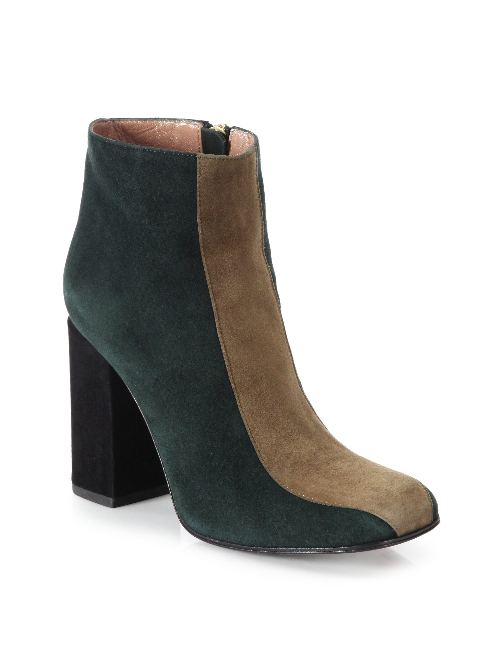 marni colorblock suede ankle boots in brown lyst