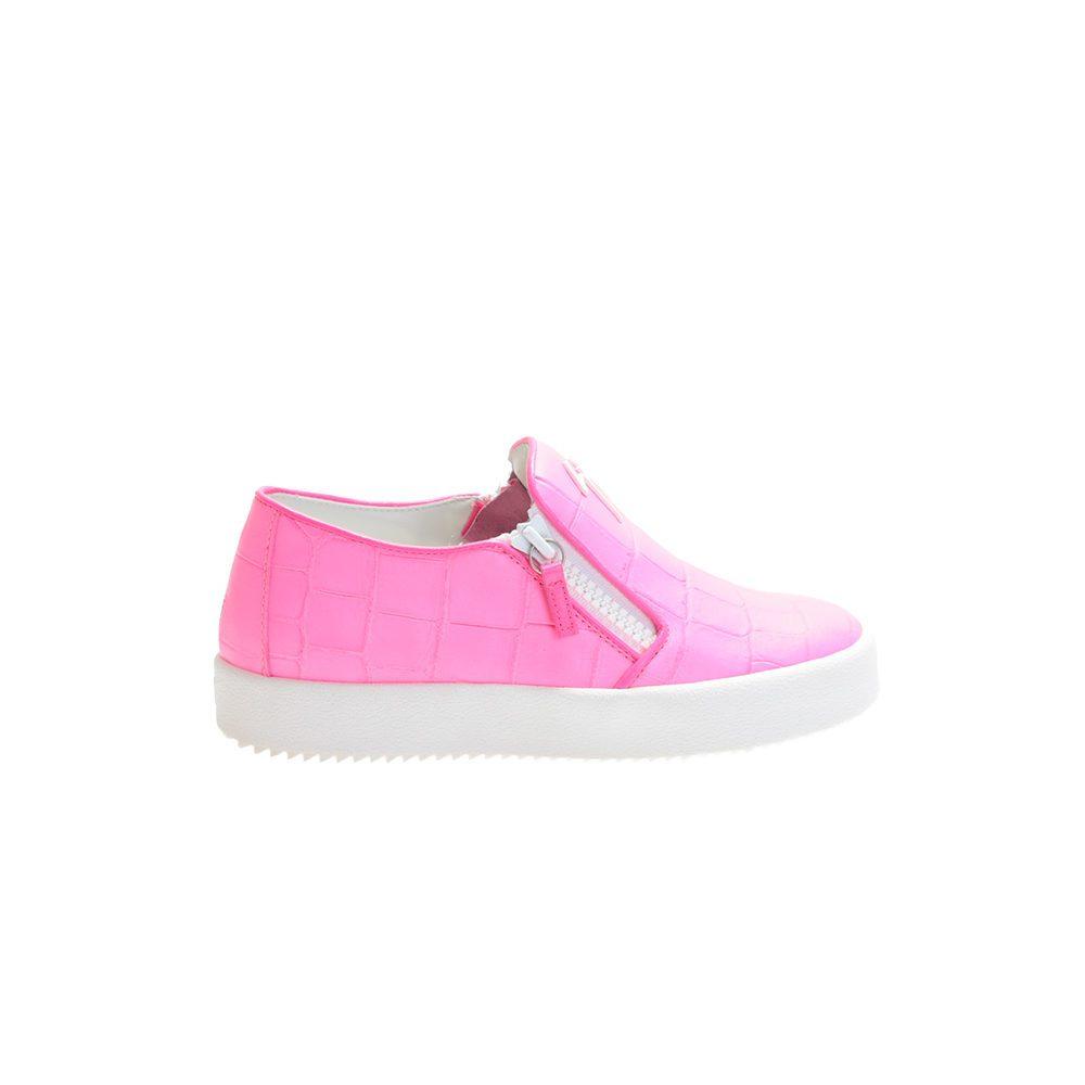 giuseppe zanotti neon pink crocodile printed leather