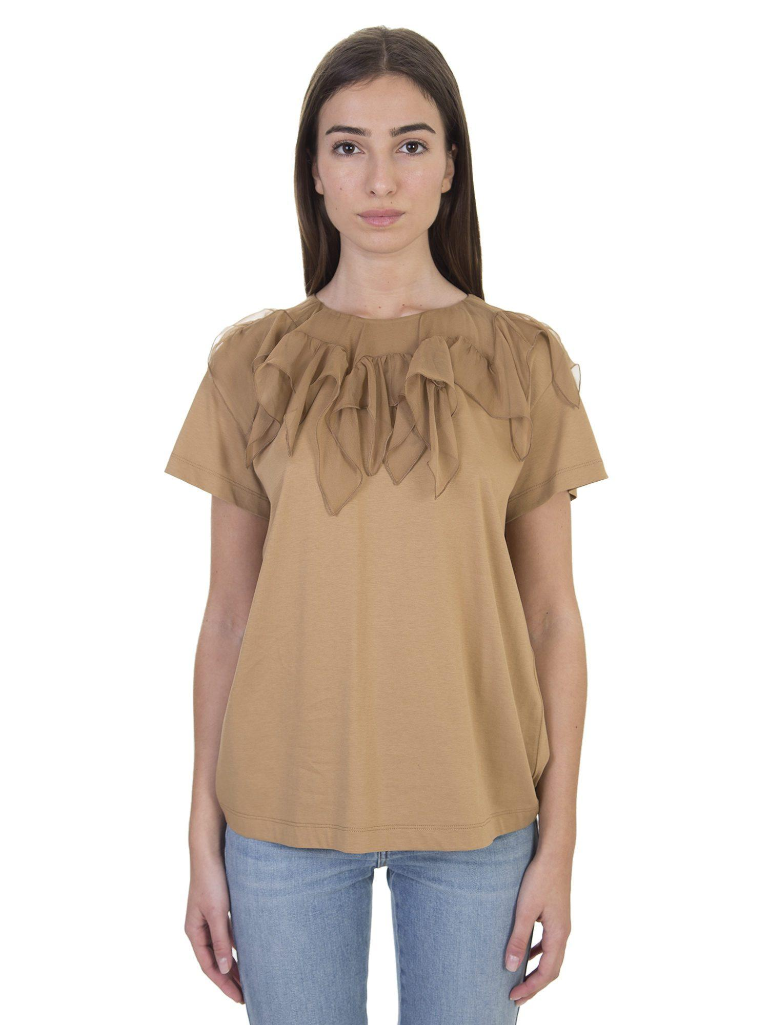Lyst n 21 beige cotton t shirt with silk rouches in natural for Cotton silk tee shirts
