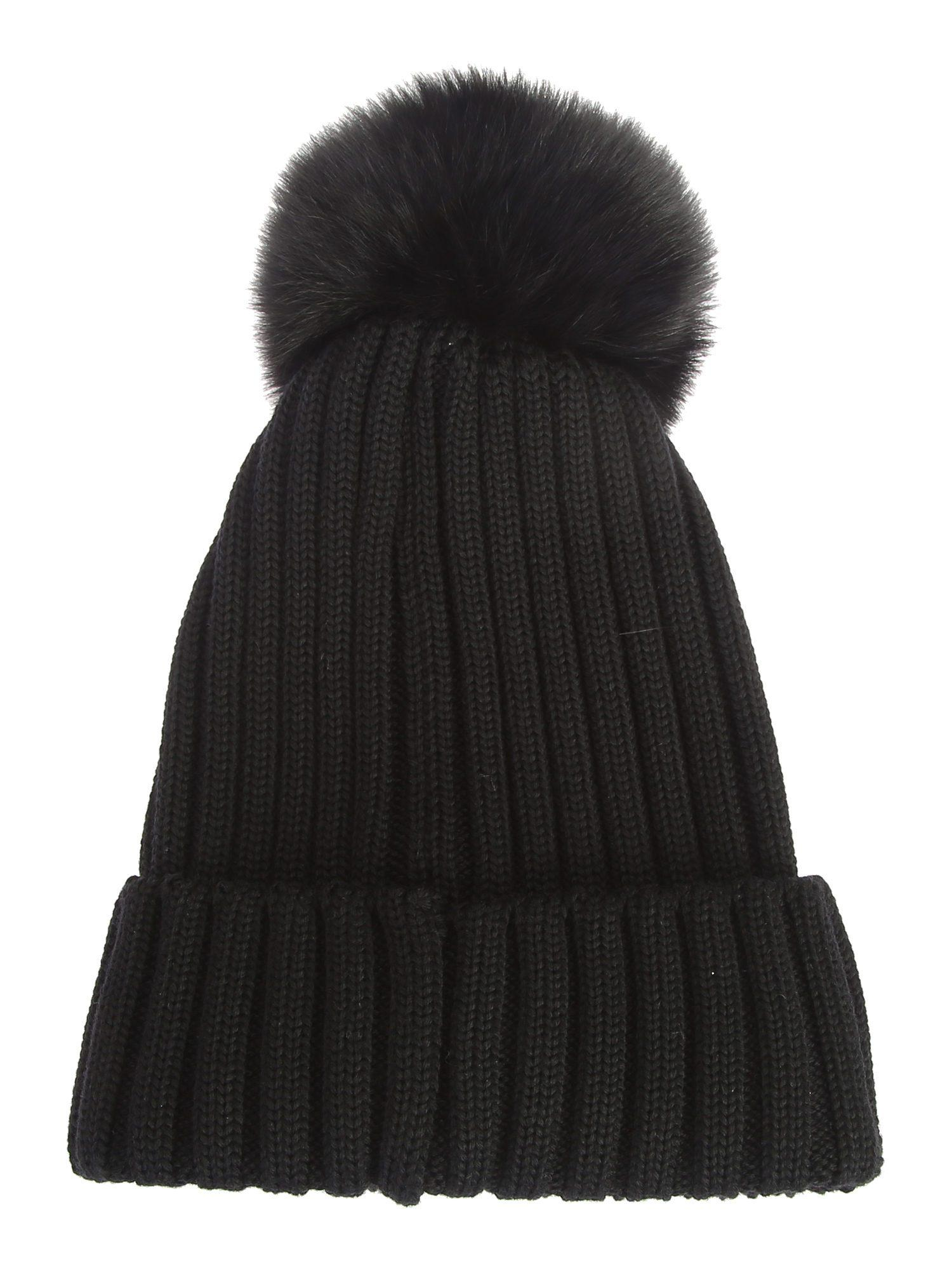 4395c219d955 Moncler Ribbed-knit Beanie Hat W fur Pompom in Blue - Lyst