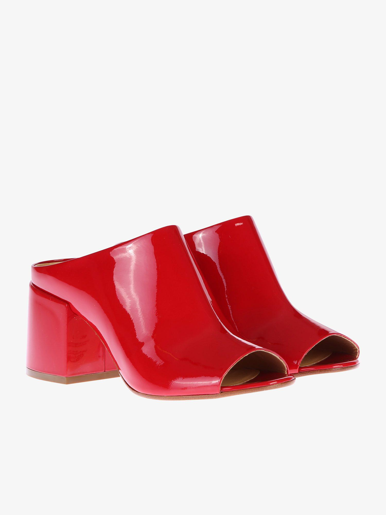 39ec29778c26 Lyst - Mm6 By Maison Martin Margiela Patent Mules in Red
