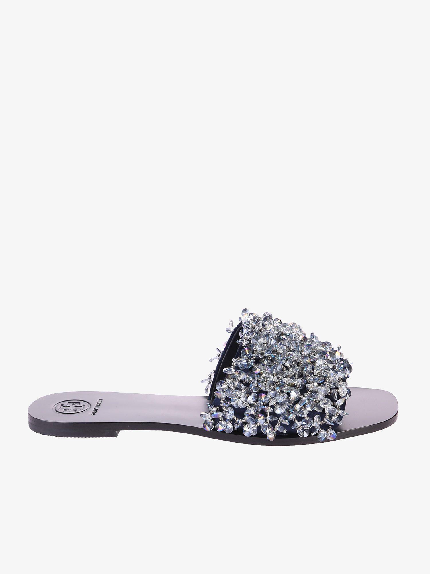 3b8fede0e217 Lyst - Tory Burch Logan Embellished Slide Sandals