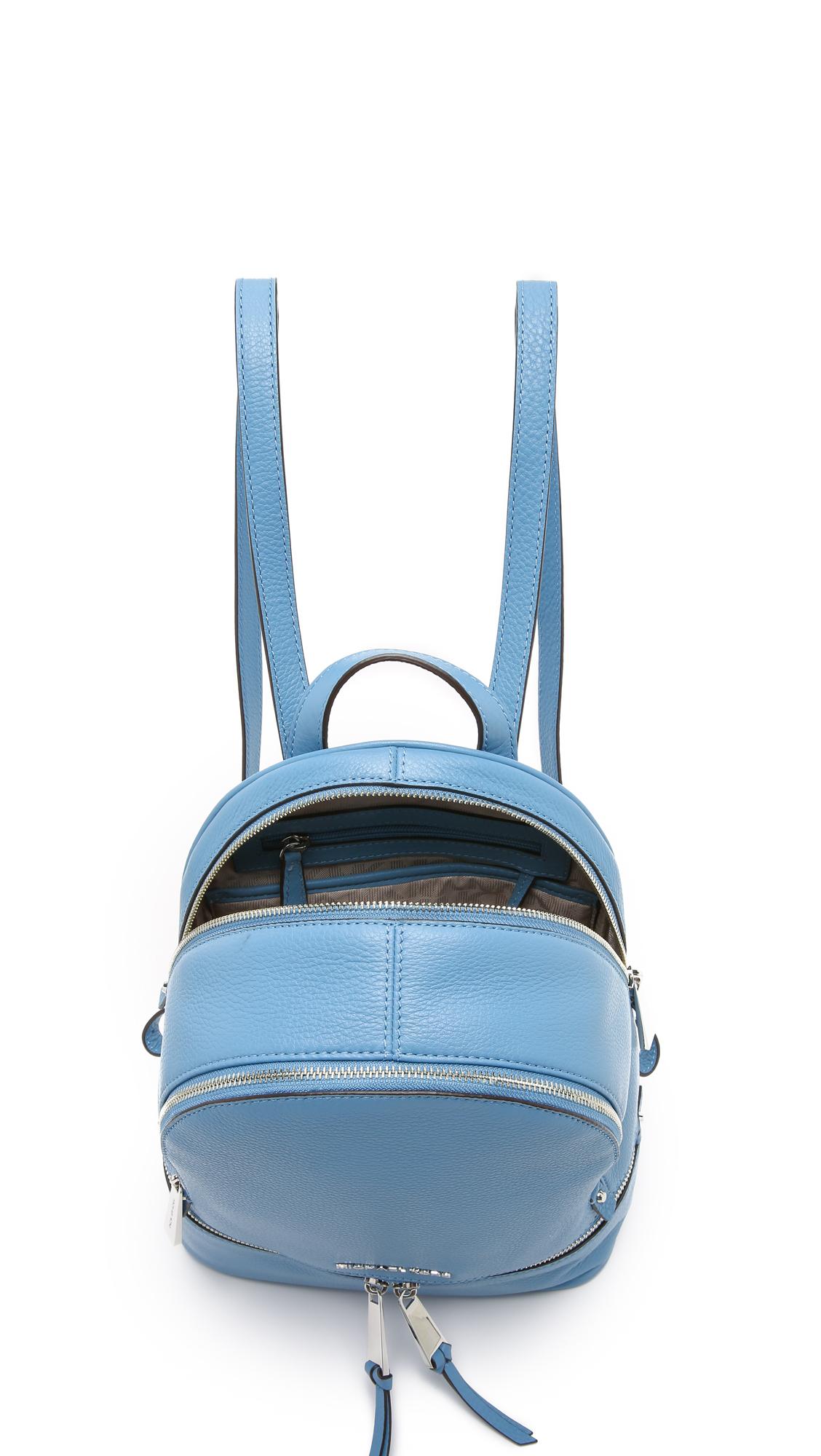 350c3e722d18 ... uk lyst michael michael kors rhea small backpack sky in blue a3195 b4bd1