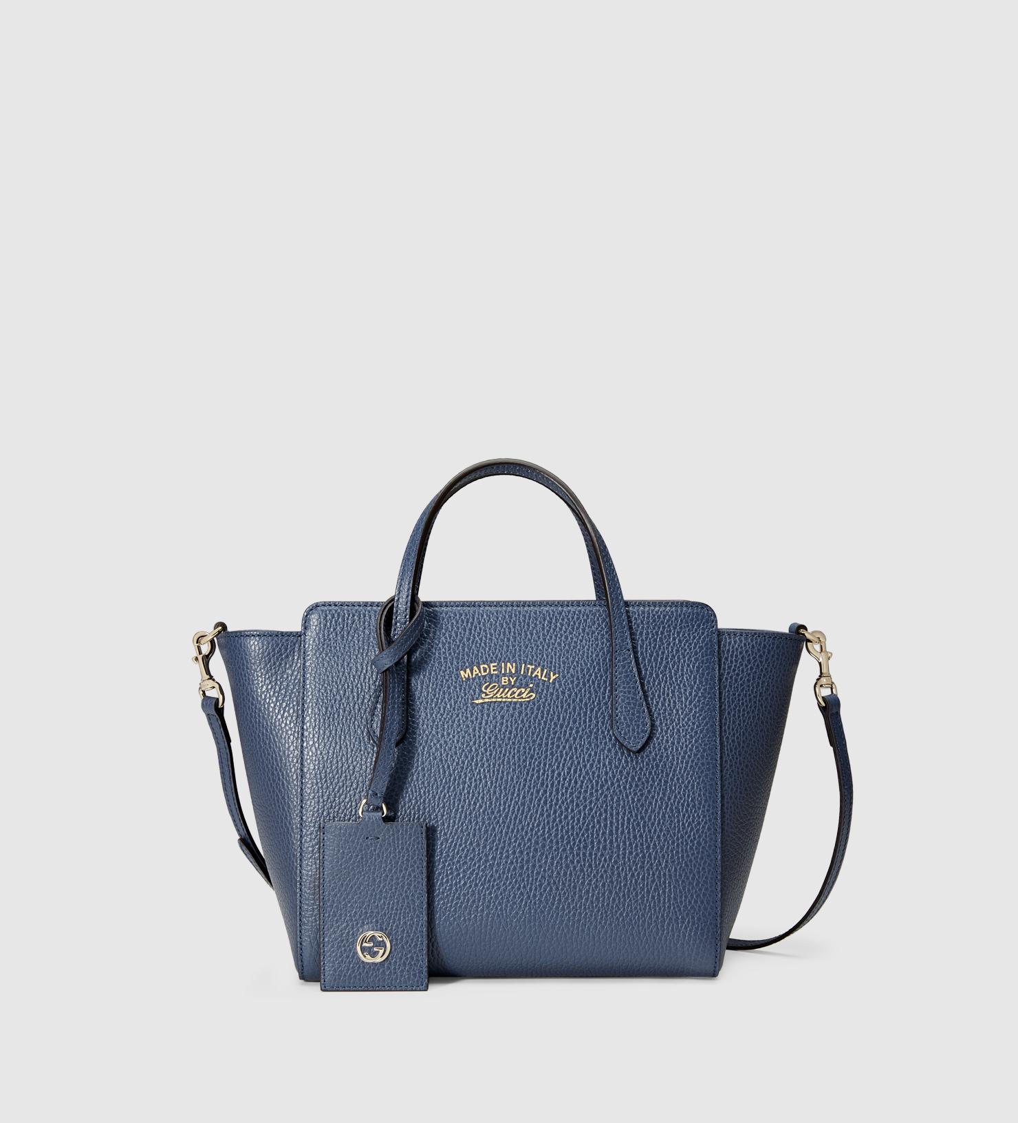 74cbf1c0e76499 Gucci Swing Mini Leather Top Handle Bag in Blue - Lyst
