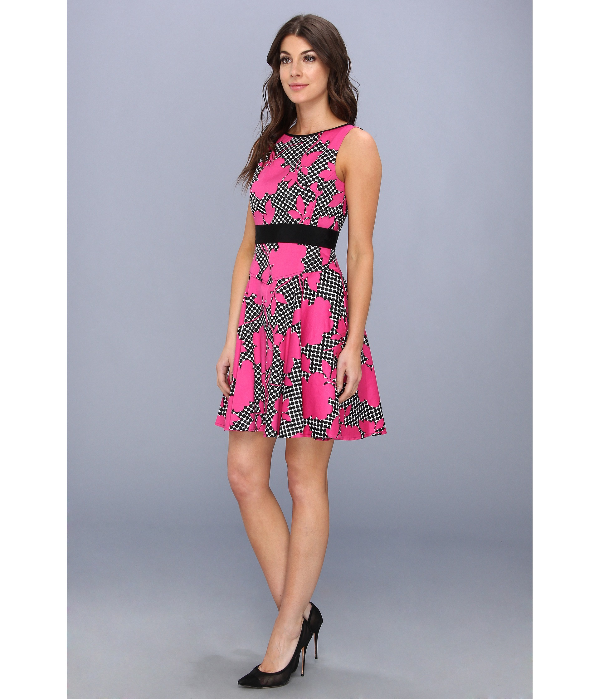 Lyst Maggy London Printed Cotton Fit And Flare Dot