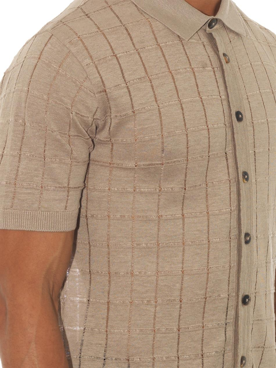 Façonnable Square-Knit Linen Polo Shirt in Natural for Men ...