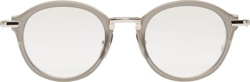 6bfe63f04ea4 Lyst - Thom Browne Grey Round Tb 011 Optical Glasses in Gray for Men