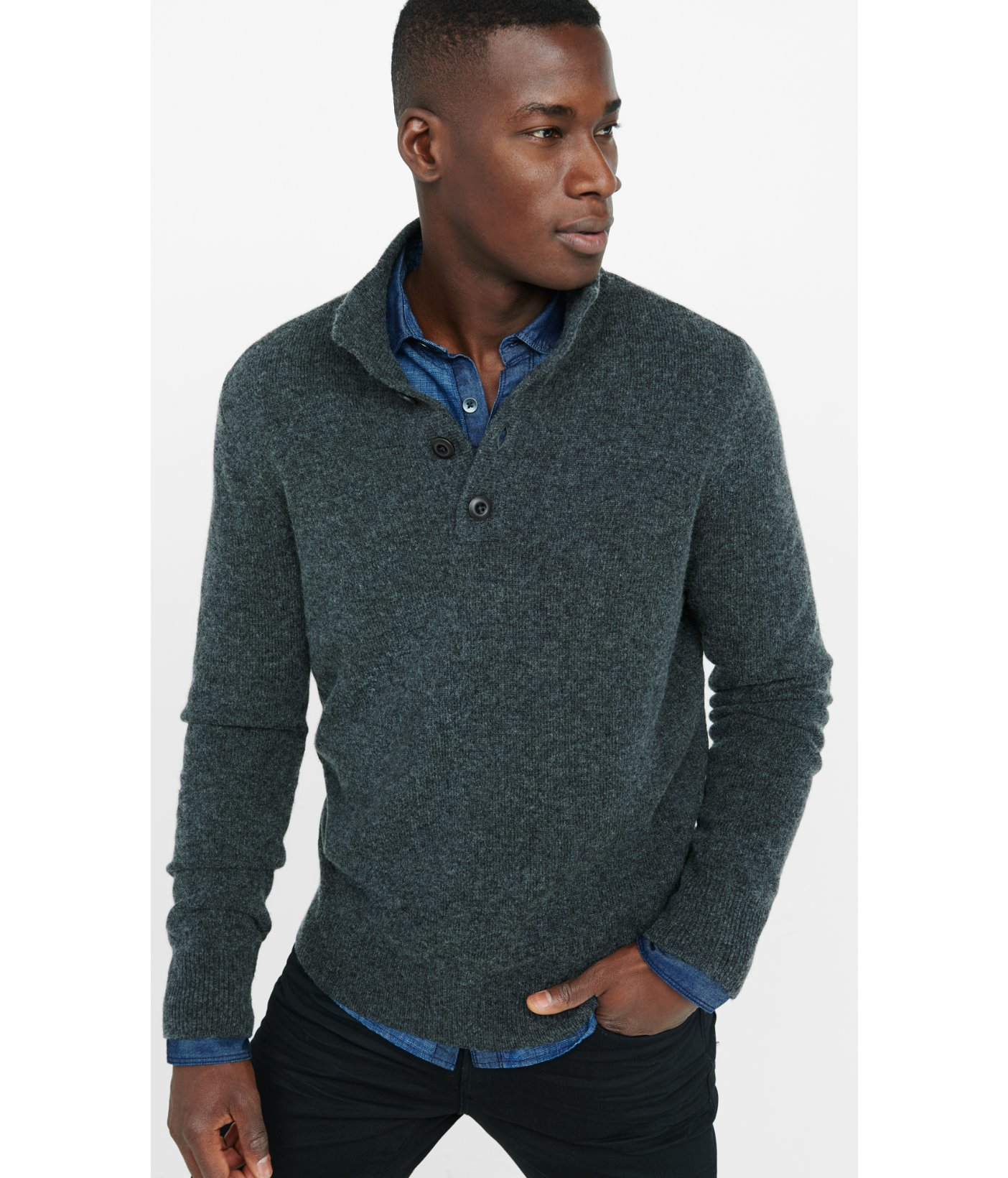 0b3421b35f47 Lyst - Express Button Mock Neck Sweater in Gray for Men