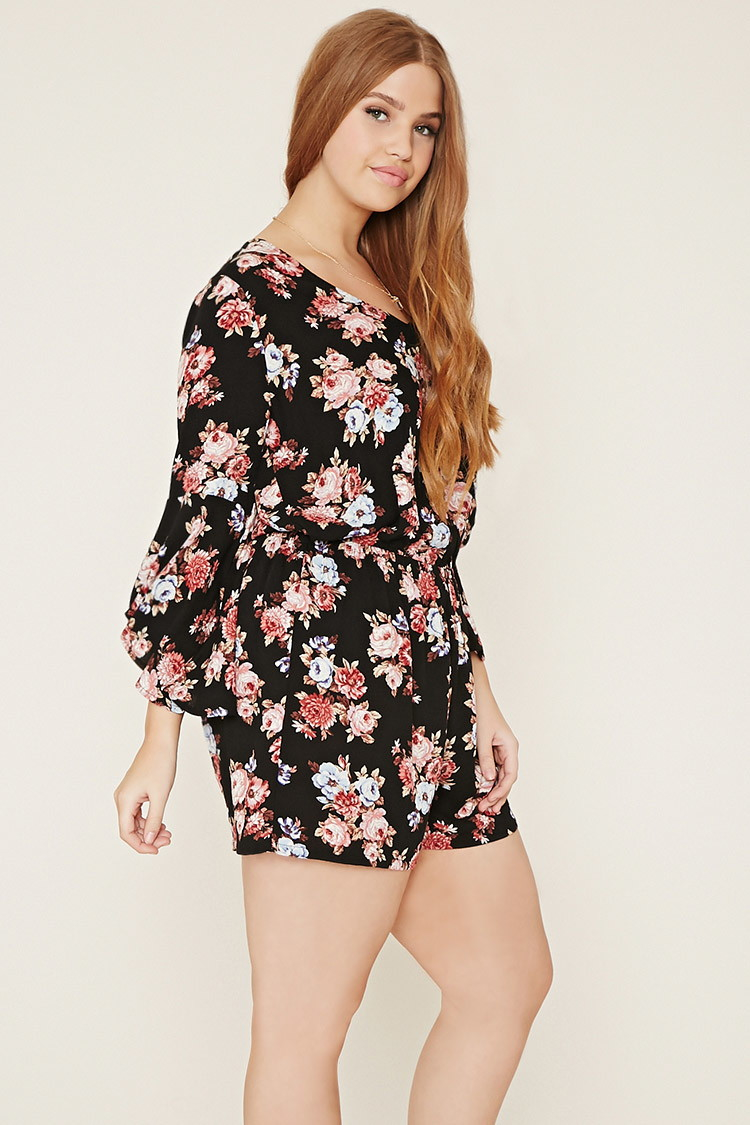 9555f1fa0df Lyst - Forever 21 Plus Size Floral Romper