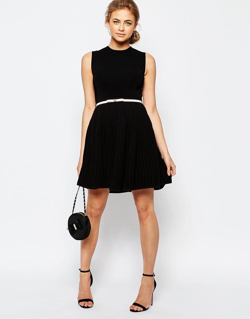 553808ca3 Lyst - Ted Baker Bow Belt Knit Dress in Black