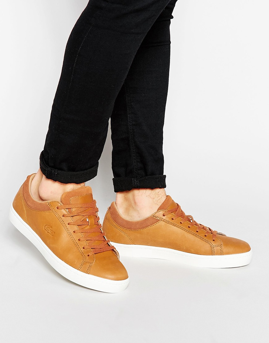 e2dc45097 Lacoste Straightset Leather Trainers in Brown for Men - Lyst