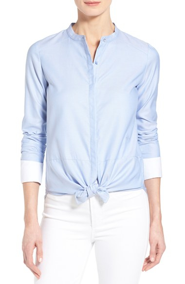 Chelsea28 nordstrom cotton oxford shirt in blue lyst for French blue oxford shirt