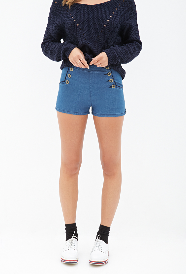 Forever 21 High-waisted Sailor Shorts in Blue | Lyst