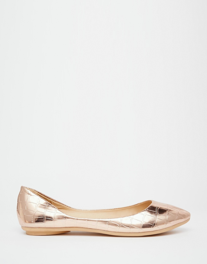 d6eb730cfac Lyst - Lost Ink Bea Rose Gold Textured Ballerina Flat Shoes in Metallic