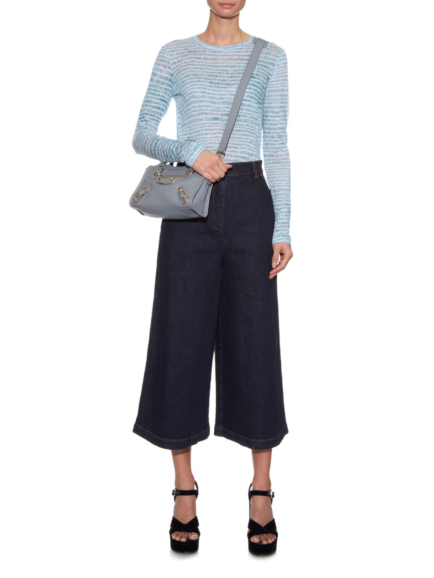 204059cf94d7 Lyst - Balenciaga Classic Mini City Metallic-Edge Cross-body Bag in Blue