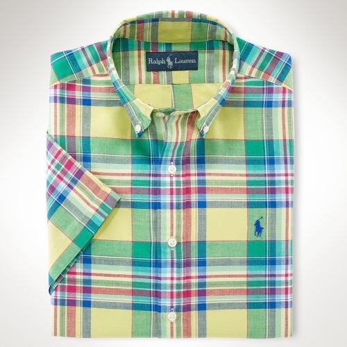 Polo ralph lauren classicfit madras shirt in green for men for Mens madras shirt sale