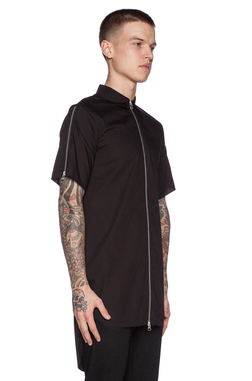 Lpd new york Zipper Button Down Long Shirt in Black for