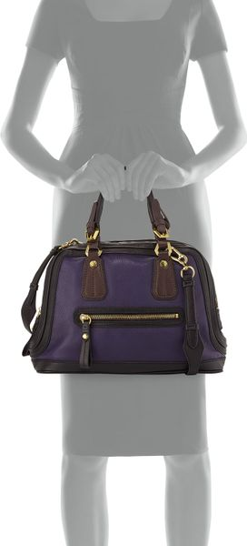 Oryany Kendall Tonal Leather Satchel Bag Purple Multi in Purple (null ...