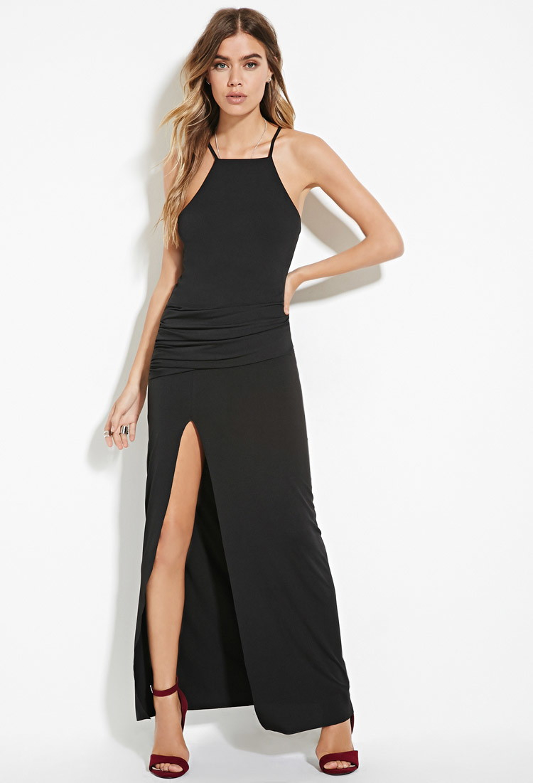 black dress with high slits lyst forever 21 ruched high slit maxi dress in black 1242