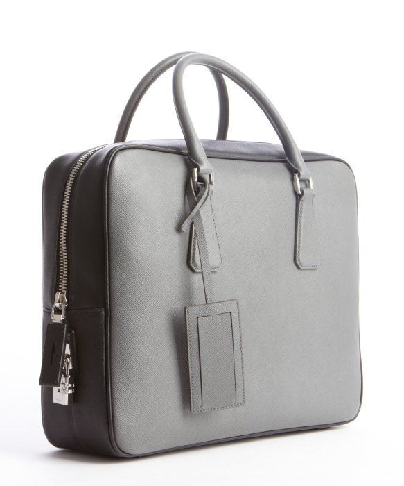 Prada Mercury Saffiano Leather Briefcase in Gray for Men (mercury ... - Prada Saffiano leather men's bag
